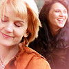 copracat: foreground gabrielle with xena in the background, laughing (xena lovers)