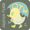 copracat: cartoon duck in yellow wellington boots carrying an umbrella with OTW printed on it. Text: early adopter (OTW)