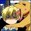 skygiants: an enthusiastic puppy glomps the head of Tamaki from Ouran (eat your head (with love!))