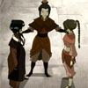 skygiants: Azula from Avatar: the Last Airbender with her hands on Mai and Ty Lee's shoulders (team hardcore)