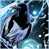 caramarie: Icon of a magpie perched against a backdrop of the stars. (deve and alistair)