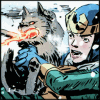genusshrike: Loki in the snow, struggling to hold back his fire-breathing pup. (loki and thori)