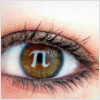 pne: Close-up of an eye with the letter pi superimposed on the pupil (maths)