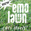 "pne: Green grass in background; caption ""*new* emo lawn: cuts itself!"" (emo lawn)"