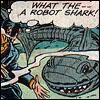 liviapenn: a man is surprised by a robot shark (reaction: omgwtfrobotshark)