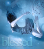 sprinexify: A blue avatar of a girl falling, with the word 'blessed'. (blessed, blue, falling)
