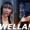 "pne: A sim with her hand open, captioned ""WELLA!"". (Wella!)"
