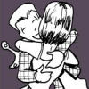 pne: Two cartoon characters hugging, with a happy expression visible on one face. (torg-zoe-hug)