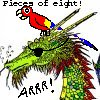 "leecetheartist: Default green dragon head, with eyepatch, parrot and Arrr! ""Pieces of 8!"" (Pirate)"