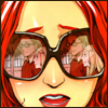pedestrian: mary jane shocked to see peter parker with another girl (reflected in her sunglasses) (heartbreak)