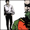 pedestrian: robin with his hand at his chin, dick grayson in the background (hmm)