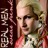 alex_beecroft: Roguish looking 18th Century young man in wig and pink silk suit.  Says 'real men wear pink.' (Real men wear pink)