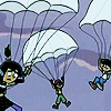 yati: Sam, Tucker and Danny (from Danny Phantom) descending using parachutes after being ejected from the car. (seatbelts optional)