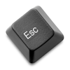 cxcvi: A black escape key, detached from a keyboard, on a white background (Escape)