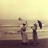 beachlass: early 20th century photo of women standing by shore (shore)