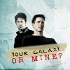 "cantarina: john sheppard and cam mitchell, text reads ""your galaxy or mine?"" (sg1 - john/cam yours or mine?)"