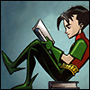 cmshaw: DC Comics: Robin perches atop a book while reading another (RTFM)