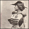 highlyeccentric: French vintage postcard - a woman in feminised army uniform of the period (General de l'avenir)