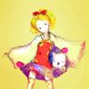 kunenk: Krile (Cara) with a moogle under her cloak (>curl up)