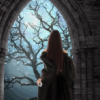 ext_122457: A woman looking through an otherworldly portal at a mystical tree in bloom. (waiting at the gate)