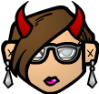 archangelbeth: Face with glasses and large red horns. Looking blah and-or grumpy. (DjinnBeth)