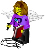 archangelbeth: Lego-woman with white angel-wings, holding a book in one hand and a whip in the other. (Archangel of Archives)