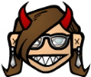archangelbeth: Cartoon face with glasses, horns, and a pointy-toothed smirk. (Djinnsmirk)