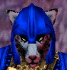 archangelbeth: A Vah Shir (cat faced humanoid) in a bright blue helmet. EverQuest race. (EverQuest)