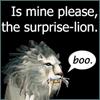 """archangelbeth: A WoW white lion going """"boo."""" Above: Is mine please, the surprise-lion. (SurpriseLion)"""