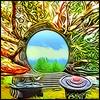 arboreal_mod: stargate with leafy branches growing out of it (blooming gate)