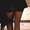 theleaveswant: person wearing seamed stockings below a leather jacket walking away from camera (sexy stockings)