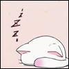 sad_tyger: A cartoon cat sleeping with its head tucked underneath its tail. ([lucky star] lucky cat)