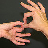 signlanguage: White hands signing on a black background. (Default)