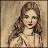 mayhap: Rackham illustration of Alice (curiouser and curiouser)