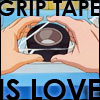mayhap: two hands reaching with text Grip tape is love (grip tape is love)