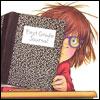mayhap: Junie B. Jones peeks from behind composition book (Junie B.)