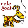 mayhap: straw goat drinking coffee with text yule goat (yule goat)