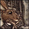 mayhap: anthropomorphic rabbit with his head in his paws (mad tea party)