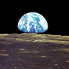 jeshyr: Moonscape, with the earth rising behind it (Earth, Globe)