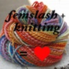 challyzatb: A ball of rainbow wool. Text reads femslash + knitting = <3 (femslashknitter)