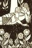 thefairymelusine: line drawing of a knight lying by a bank of flowers (flowers, knight)