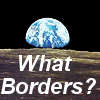 "jeshyr: Moonscape with earth rising behind it, text ""What borders?"" (What Borders?, There Are No Borders)"