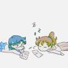 kerpingtack: mizuno ami & kino makoto chibi fanart (tired of studying)
