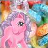 ysobel: A pink pony in front of fruit loops! (_support)