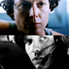 apollymi: Split icon, top close-up of Ripley's face in color, bottom close-up of Hicks' face in b&w, no text (Aliens**Hicks/Ripley: Stares)