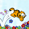 leanwellback: garfield diving into a pile of flowers (toons- sweets and joy and joyness)