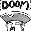 sixtylilies: a man in a captain's hat looking above himself at the word 'BOOM' with absolute delight. (nemesis)