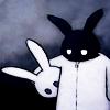 brokensoul: (abstract. b&w sad bunny)