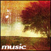 "jennifergearing: simple tree landscrape in warm tones, with a white musical note at top left and the word ""music"" at bottom left (media: music)"