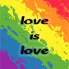 "jennifergearing: a diagonal and slightly blurred rainbow background, centered text over it reading ""love is love"" (society: queer)"